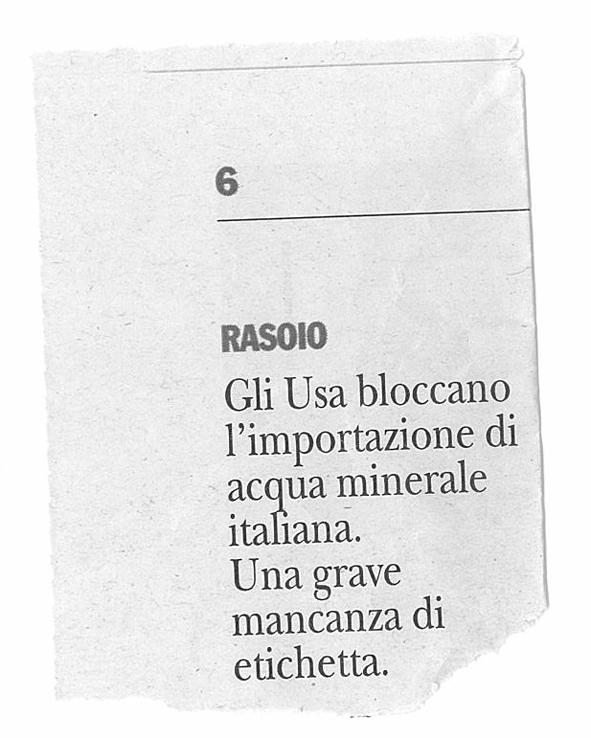 Gli USA bloccano l'importazione di acqua minerale italiana. Una grave mancanza di etichetta