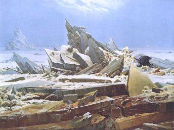 """""""Il mare di ghiaccio"""", conosciuto anche come """"Il naufragio della speranza"""", di Caspar David Friedrich"""