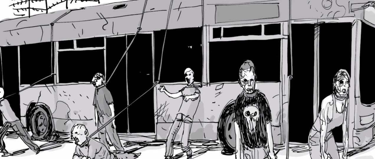 Zerocalcare con maglia a teschio nel trailer di Roma città morta di Giacomo Keison Bevilacqua